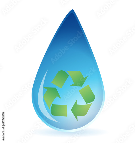Water drop with recycle symbol inside