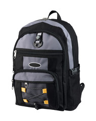 A canvas backpack with compass for student or adventure