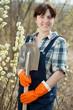 Female farmer  with shovel