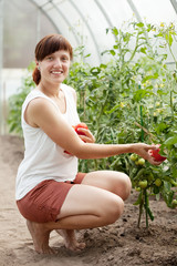 Happy  woman with tomato
