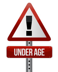 road traffic sign with an under age concept