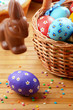 Easter eggs, cake, basket