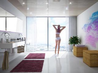 Junge Frau im modernen Badezimmer mit Ausblick 3D