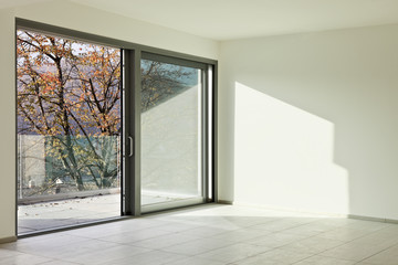 modern architecture, interior, angle wall and window
