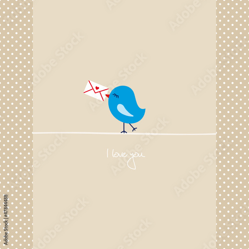 Blue Bird Holding Love Letter Retro