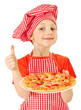 Young girl preparing homemade pizza
