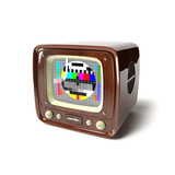 vintage tv with test pattern 3d illustration