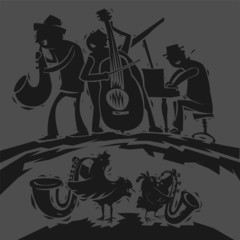 Music Band Funny Illustration