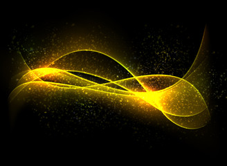 Dark glow background with color waves.