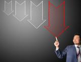 Business man touching decreasing arrow poster