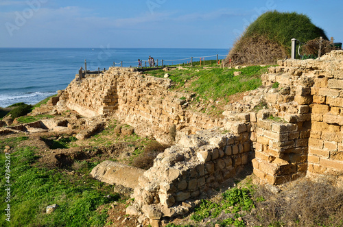 ruins of Crusaders fortress Apollonia in Israel
