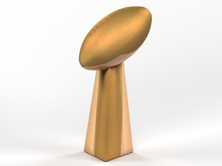 Digital render of football SuperBowl trophy on white background.