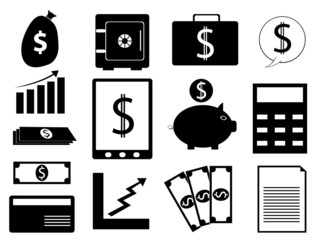 Set of finance and business illustration on white background