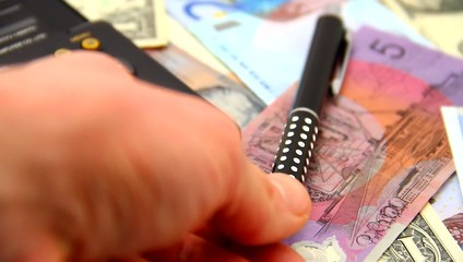 Counting money, finances, expenses, economy concept.