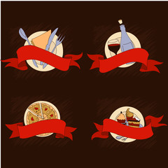 Set of different food colored banners