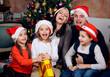 Real happy family celebrating Christmas