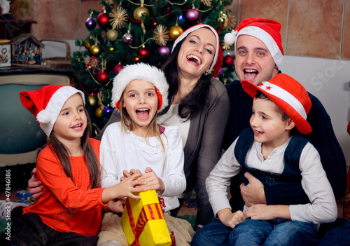 Real happy family celebrating Christmas