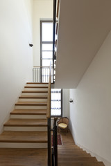 beautiful apartment, interior, wooden staircase