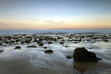 Rochers de sable et de fer en bas de la dune du Pilat