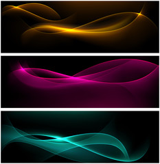 Dark glow banners with color waves.