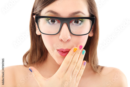 Surprised woman wearing glasses