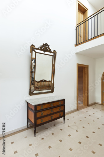 beautiful apartment, interior, corridor, antique furniture