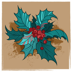 Color Christmas holly