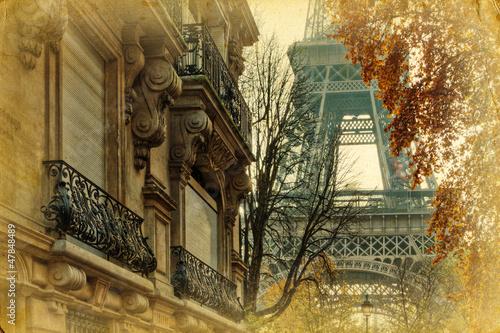nostalgisches Bild Pariser Stadthäuser und Eiffelturm