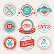 Christmas set - labels and emblems. Vector illustration.