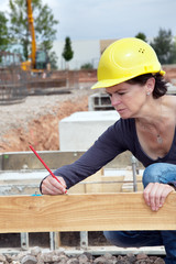 Measure engineer at the construction site