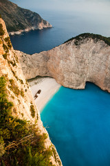 Beach with ship-wreck in Zakynthos, Greece