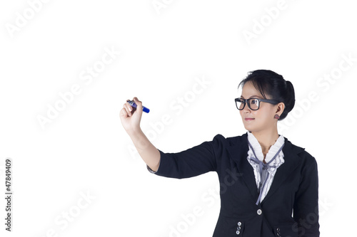 bBusiness woman with pen writing or drawing on the screen.