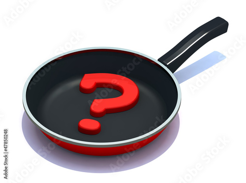 question mark on the frying pan