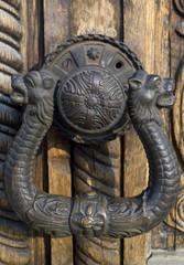 Ornate wooden doors, door hardware of Aleksandar Nevski church