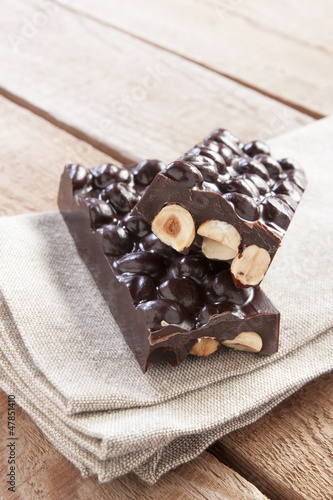 Delicious chocolate with hazelnuts