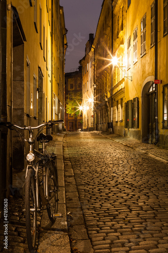 Empty street in Stockholm Old town at night.