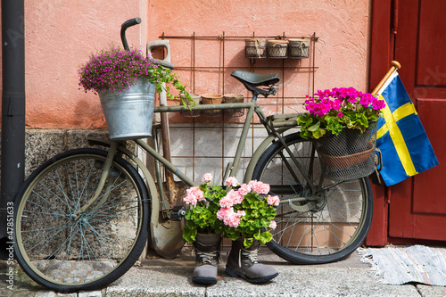 Flower decorated bike in Stockholm
