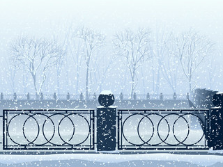Snowfall in park with the river canal and bridge.