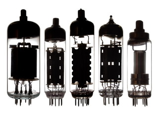 Glass vacuum radio tubes.Isolated on white background.