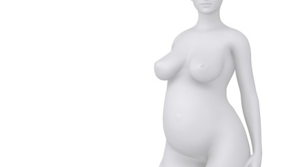 Enlarging abdomen during pregnancy white concept