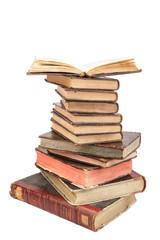 torre de libros viejos