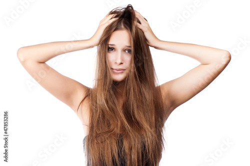 woman with tangled hair. isolated - 47853286