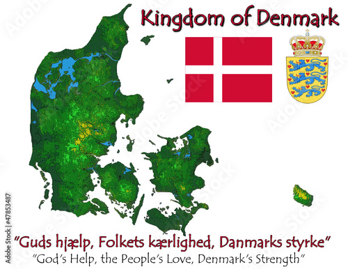 Denmark Europe national emblem map symbol motto