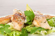 Fish fillet with fresh salad.