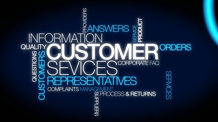 Customer Service Representatives word tag cloud aniamtion