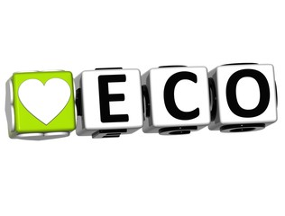 3D Love Eco Button Click Here Block Text