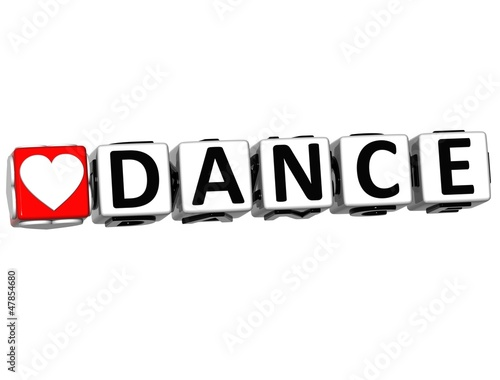 3D Love Dance Button Click Here Block Text
