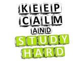 3D Keep Calm And Study Hard Button Click Here Block Text poster