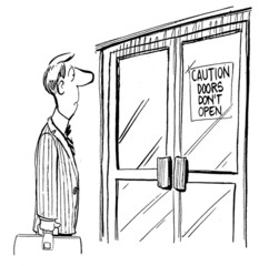 Caution doors don't open for commuter workder