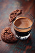 Glass of espresso and chocolate cookie